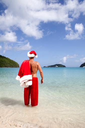 RF Getty holiday santa on vacation