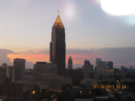 The Atlanta Skyline at dusk.