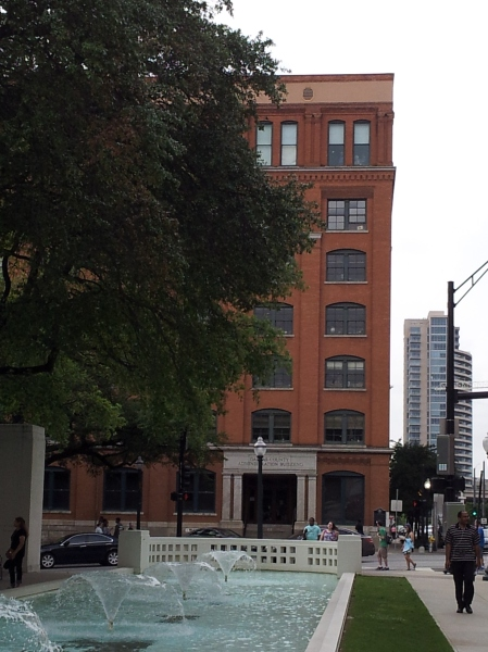 Got in a little sight-seeing on my way to my publisher's cocktail party. This is the Sixth Floor Museum, formly known as the Texas Book Depository from which JFK was assasinated.
