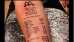 This guy put a whole receipt on his arm?!?!?