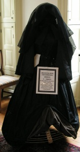 1860'S CIVIL WAR MOURNING DRESS, VEIL, BONNET & ORIGINAL HOOP